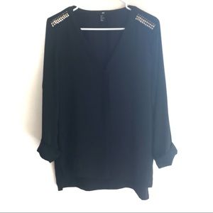 H&M Black Embellished Blouse
